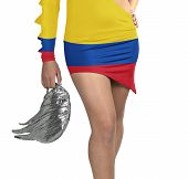 Futuristic Young Woman With Flag From Colombia On Her Dress