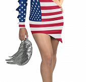Futuristic Young Woman With Flag From Usa On Her Dress