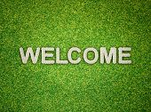 Welcome Word Made From Flowers On Green Grass Background