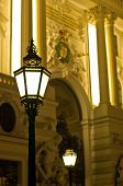 Very decorative and stylish 19th century lanterns on streets of Vienna by night