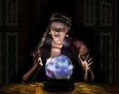 stock photo of seer  - 3D render of a fortune teller - JPG