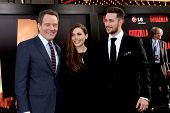 LOS ANGELES - MAY 8:  Bryan Cranston, Elizabeth Olsen, Aaron Taylor-Johnson at the