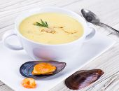 Soup of mussels and shrimp, seafood