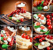 Mozzarella, tomatoes and bread. Italian food