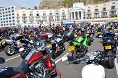 HASTINGS, ENGLAND - MAY 5, 2014: Motorcycles parked on the seafront during the annual May Day bikers