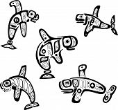 Native Indian Shoshone Tribal Drawings. Whales