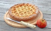 Aplle pie on cutting board