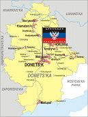 Map Of Donetsk Oblast With Flag