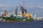 Hamburg - Container Vessel At Harbor