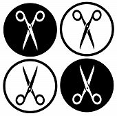 Set Round Scissors Icon