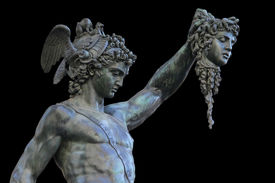 picture of medusa  - detail of statue of Perseus holding the head of Medusa on white background Florence Italy - JPG