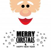 Santa Claus Face With Greetings Of Merry Christmas  & Happy New Year - Cartoon Vector Graphic
