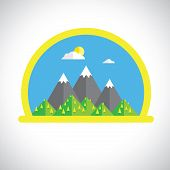 Flat Design Nature Landscape With Sun, Mountains & Clouds - Vector Graphic