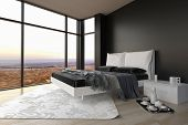 3D Rendering of Elegant Black and White Architectural Bedroom Design with Transparent Glass Windows for an Overlooking Outside View .
