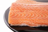pic of fish skin  - fresh uncooked red fish fillet on black over white - JPG