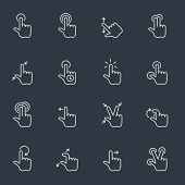 Touch gestures icons, thin line design, dark background