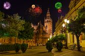 Fireworks in Sevilla Spain - holiday background