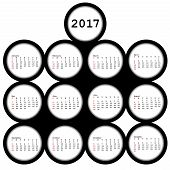 2017 Black Circles Calendar For Office