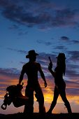 Silhouette Woman Side Hold Up Gun Cowboy