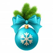 Merry Christmas  card with blue bauble