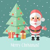 Christmas Card With Fir Tree And Santa Claus And Gifts