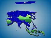 3 dimensional infographics political map of Asian continent, with every state easy selectable and ed