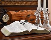 Open Bible with Glass Angels, Candles and Clock-2