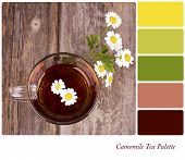 A glass of camomile tea, with camomile flowers, over old wood background. In a colour palette with complimentary colour swatches.