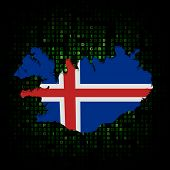 Iceland map flag on hex code illustration
