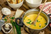 Mushroom Creame Soup With Herbs And Toasts
