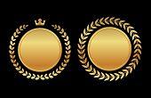 label medal gold laurel wreath - design element