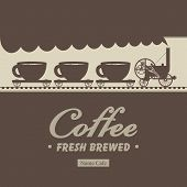 pic of covered wagon  - Banner menu for cafe with a locomotive and wagons with cups - JPG