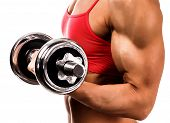 Fit woman with a barbell, isolated on white