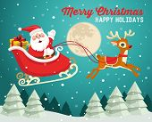 picture of christmas claus  - Santa Claus on sleigh with reindeer in snowy Christmas night - JPG