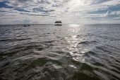 foto of pontoon boat  - Pontoon floating in the water of Thailand - JPG