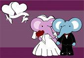 elephant married cartoon background