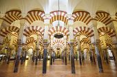 CORDOBA, SPAIN - CIRCA 2014: Hypostle Hall in the Mosque-Cathedral of Cordoba. The site underwent conversion from a church to a mosque and back again.