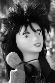 image of scarecrow  - Mannequin head with wig on scarecrow body  - JPG