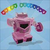 Birthday Gift Card Over Blue Color Background