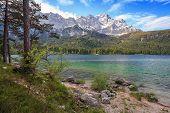 Eibsee lake and Zugspitze
