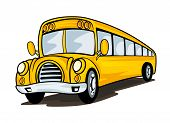 stock photo of bus driver  - Yellow school bus in cartoon style for education concept design - JPG