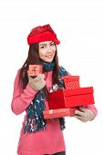 Asian Girl With Red Christmas Hat With Many Gift Boxes