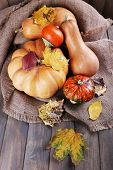 Pumpkins on sackcloth on wooden background