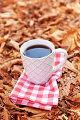Cup of tasty hot drink on autumn leaves background