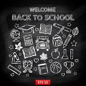 image of sketch book  - Chalk board Welcome back to school - JPG