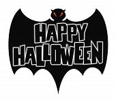 foto of happy halloween  - Happy Halloween Bat - JPG