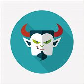 Vampire Flat Icon With Long Shadow, Eps10