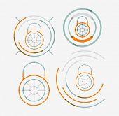 Thin line neat design logo set, clean modern concept, lock idea