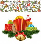 Vector Card with Christmas and New Year elements