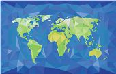 World map in polygonal style. Green on blue. Physical map